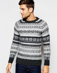 "Fair Isle jumper by Selected Homme Pure wool Soft-touch, chunky knit Crew neck Ribbed trims Fitted cuffs and hem Regular fit - true to size 100% Wool Machine wash Our model wears a size Medium and is 188cm/6'2"" tall"