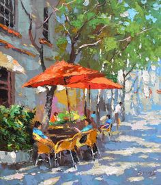 In the shadow of cafe oil palette knife paintings by Dmitry   Etsy