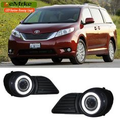 171.00$  Buy now - http://alihfm.worldwells.pw/go.php?t=32619983222 - eeMrke LED Daytime Running Lights For Toyota Sienna XL30 Fog Lights H11 55W Halogen COB Angel Eyes DRL Kits