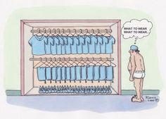 Hmmmm, what should I choose? I know! Blue top, pants, and a blue jacket!