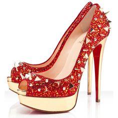 Peep Toe Pumps | Mix Red Peep-toe Pumps Christian Louboutin Very Mix Red Peep-toe Pumps ...