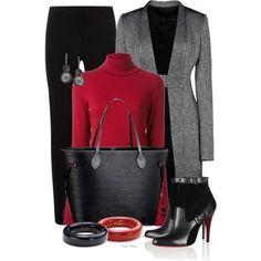 black, grey, red turtleneck