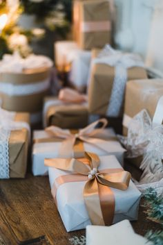 Brown wrapping paper and ribbons.