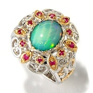 Gems en Vogue II Ethiopian Opal Doublet & Ruby Ring