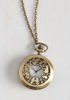 It's Always Tea Time Necklace. Theres no time to waste - accessorize with this pocket watch necklace so you can tell the time whenever it is that you set out for a spot of tea! #gold #modcloth