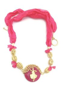 OOAK..Fuchsia silk necklace dervish. by Themagicofcolors on Etsy, $34.90