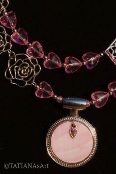 #TATIANAsArt #Halskette #Collier #Perlmutt #Schmuck #Handmade #Handgefertigt #Rosafarben  #Geschenk #Modeschmuck #Necklace #Ohrringe