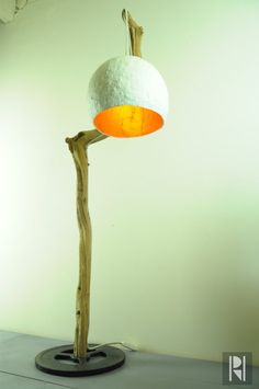 Wooden branch lamp paper mache standing door RoughHandsTheHague