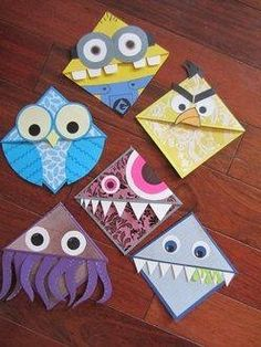 These lil corner monster bookmarks are so creative! Simple origami, paper and glue and you've got a great craft or gift for kids to make! Cute Crafts, Easy Crafts, Diy And Crafts, Arts And Crafts, Paper Crafts, Glow Crafts, Diy Paper, Decor Crafts, Diy Bookmarks