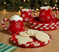 Temp-tations Snowflake Set of 4 Dessert Plates or Mugs