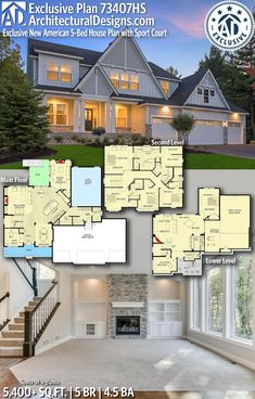 Plan Exclusive New American House Plan with Sport Court - Architecture House Plans One Story, House Floor Plans, Modern Architecture House, Architecture Design, The Plan, How To Plan, American Bedroom, 5 Bed House, American Houses