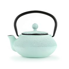 Miko Light Blue Cast Iron Teapot Brand: Pinky Up Capacity: 20 oz Infuser included Hand cast iron teapot with enamel inside Distributes heat evenly Keeps tea hot for up to an hour Hand Cast, It Cast, Loose Leaf Tea, China Porcelain, Serveware, Bone China, Cast Iron, Light Blue, Colour Light