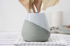 Ceramic utensil Holder in gray and white glaze,Ceramic #housewares #serving @EtsyMktgTool http://etsy.me/2yb45Lb