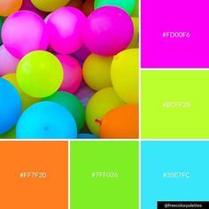 Neon balloons color palette inspiration great for digital art and brand col Neon Colour Palette, Bright Color Schemes, Color Combos, Palette Violette, Best Exterior Paint, Mood Colors, Color Balance, Crazy Colour, Design Seeds