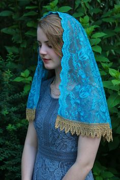 Chapel Veil, Turquoise, Our Lady, Embroidered Lace, Free Sewing, Redheads, Delicate, Feminine, Elegant