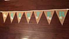 Easter burlap bunting with colorful eggs and a by GramsCozyCorner