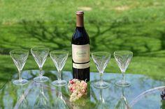 Vintage Wine Glasses, Set of Vintage Claret 5 oz Wine Glasses, After Dinner Wine Glasses, Small 5 oz Wine Glasses, Dessert Wine Glasses Vintage Wine Glasses, Etched Wine Glasses, Dessert Wine Glasses, Port Wine, Craft Cocktails, Dessert For Dinner, Wine Tasting, Wines, Alcoholic Drinks
