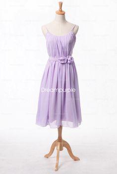 #chiffon spaghetti straps lilac bridesmaid dress purple #floral bridesmaid dress #junior bridesmaid dress