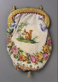 1830-1850, Europe - Bag - Cotton and beadwork