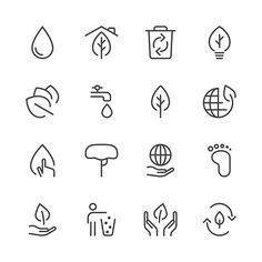 Environmental Icons set 1 | Black Line series vector art illustration
