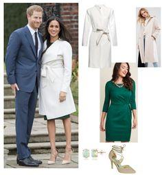 Meghan Markle in PAROSH dress, Aquazzura pumps and Line coat.