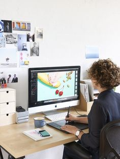 Eve At Her St Kilda Studio On Thedesignfiles.net Graphic Designer Desk,  Office Inspo