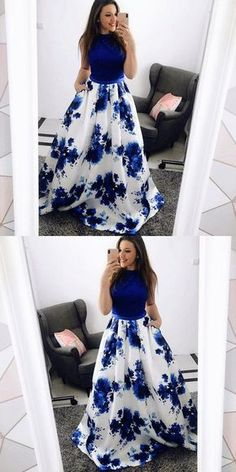 long prom dresses - ALine Jewel Blue Floral Long Prom Dress with Pockets Lace Floral Prom Dresses, Indian Gowns Dresses, Blue Evening Dresses, Hoco Dresses, Stylish Dresses, Homecoming Dresses, Cute Dresses, Beautiful Dresses, Fashion Dresses