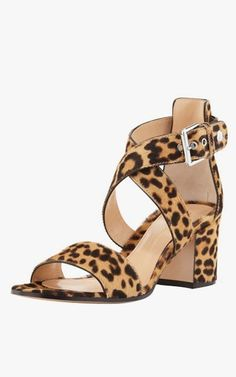 Gianvito Rossi leopard-print calf-hair low-heel sandals, $905.