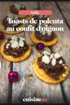 Les toasts de polenta au confit d'oignon sont idéaux pour votre apéritif de Noël. En plus ils sont végétariens ! #recette#cuisine#toast#polenta #oignon #noel#fete#findannee #fetesdefindannee Toast, Polenta, Appetizers, Christmas Open House Menu, Smoked Salmon, Home Kitchens, Projects