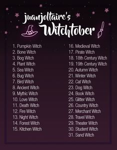 Hey guys Ive decided Im going to attempt a months worth of art prompts again for the fall season. This time I want to be a little more themed so I made myself a witch prompt list. Im going to be traveling for half of October so Im going to. Sketchbook Prompts, Art Prompts, Sketchbook Assignments, Writing Prompts, 30 Day Drawing Challenge, Writing Challenge, Monthly Challenge, Drawing Ideas List, Drawing Tips
