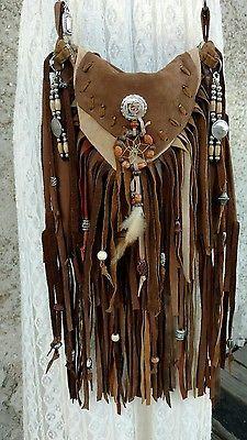 Handmade Brown Suede Cross Body Bag Fringe Hippie Tribal Boho Hobo Purse tmyers