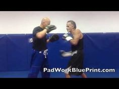 Basic 7 Punch Boxing Pad Work Drills Combo Series 40-14 Focus Mitt - YouTube
