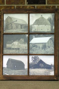 Using an old barn window as a picture frame for, what else, barn pictures that I have edited to give them an old look.
