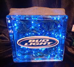 Bud Light -- Glass Block -- Unique Gift -- By the Bar -- Man Cave -- SALE on Etsy, $25.00