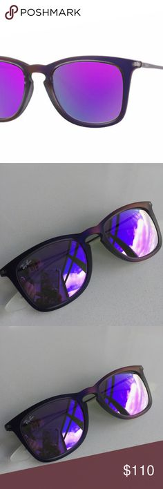 Ray-Ban RB4221 6168/4V Violet Mirrored Lens Frame Show off in style with the RB 4221, the newest addition to the High street sun collection. An updated Wayfarer look features a square frame for a fresh, unisex look, plus new iridescent rubberized tones and high quality mirrored and gradient lenses.   100 % UV Frame material: Nylon Frame color: Violet; Gunmetal Lenses: Violet Mirror Includes original Black Case.  New without a scratch.  Original price: $140 Ray Ban Accessories Glasses