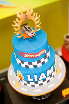 Cake from a Hot Wheels + Car Birthday Party via Kara's Party Ideas | KarasPartyIdeas.com (18)