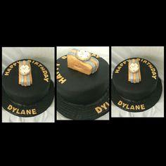 Black and gold Watch cake Black And Gold Watch, Cakes, Birthday, Cake, Pastries, Torte, Animal Print Cakes, Birthdays, Layer Cakes