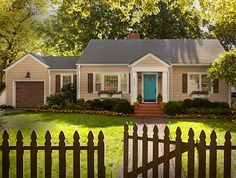 Exterior Paint Colors and Spring Paint Combinations at The Home Depot-I love the turquoise door with the tan siding.