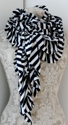 Nautical BOLD stripe SCARF in Navy Blue and White by FAIRYTALE13, $35.00