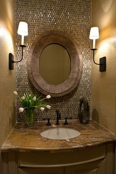 design-in-the-woods-lavatory-decor-sink-bathroom-powder-room.i think i may like this concept for the downstairs powder room one day Home Design, Design Ideas, Design Trends, Design Room, Bath Design, Sink Design, Floor Design, Layout Design, Kitchen Design