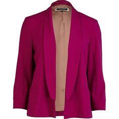 bright pink 3/4 sleeve blazer - blazers - coats / jackets - women - River Island - StyleSays