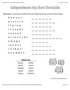 Independence Day word scramble with fireworks. 4 levels of difficulty. Scrambled words change each time you visit
