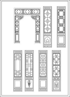 ★【Chinese Door】-Cad Drawings Download|CAD Blocks|Urban City Design|Architecture Projects|Architecture Details│Landscape Design|See more about AutoCAD, Cad Drawing and Architecture Details