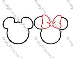Mickey Minnie Line Art Silhouette SVG PNG Digital File