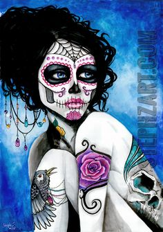 ":There is more time than life"" - Day of the dead, el dia de los muertos, watercolor painting, raven, tattoo, girl, rose, skull, jewels, sugar skull"
