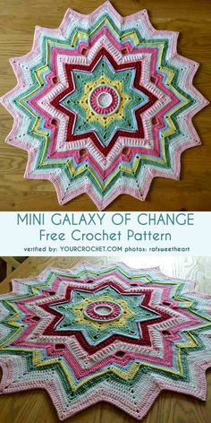 Mini Galaxy of Change Baby Blanket Free Crochet Pattern The Effective Pictures We Offer You About Crochet rug A quality picture can tell you many. Crochet Rug Patterns, Crochet Mandala Pattern, Crochet Ripple, Crochet Circles, Manta Crochet, Crochet Yarn, Knitting Patterns, Crochet Afghans, Crochet Blankets