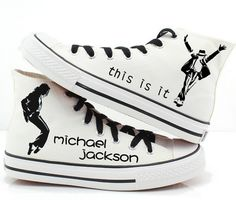 Michael Jackson custom shoes High-top Painted Canvas Shoes,High-top Painted Canvas Shoes Source by mypaintedshoes shoes Custom Converse, Custom Shoes, Converse Shoes, Michael Jackson Shoes, Casual Sneakers, High Top Sneakers, Michael Jackson Merchandise, Tenis Vans, Painted Canvas Shoes