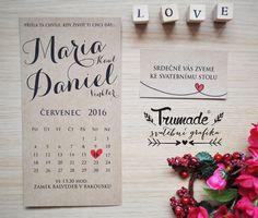 Přírodní svatební oznámení - sada - kalendář