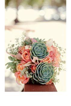 Un bouquet vert et rose orangé pinterest mariage