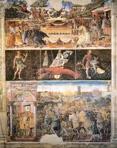 The fresco of June, Salone dei Mesi in Palazzo Scifanoia. Top row shows the triumphant God Mercury on a chariot drawn by eagles. Middle row shows the month's zodiac sign, Cancer the Crayfish, and its Decans. Bottom row shows the Duke receiving a petition and riding by a river port.